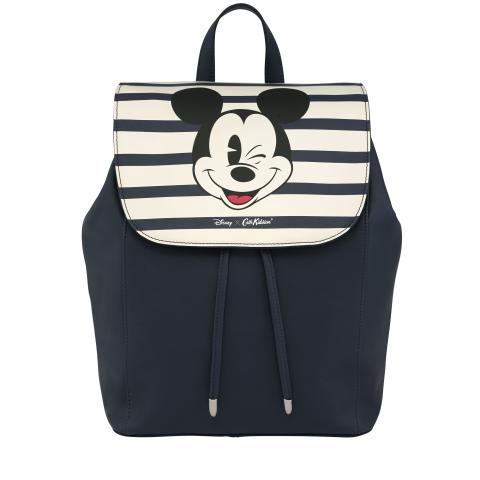 Disney Leather Backpack Mickey Stripe Placement Navy