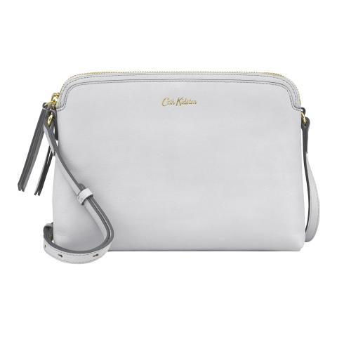 MEDIUM LEATHER DUO CROSS BODY SOLID ICE GREY