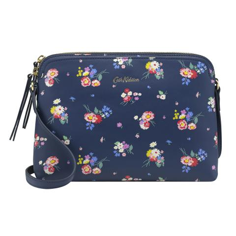 PRINTED MEDIUM LEATHER DUO CROSS BODY BUSBY BUNCH NAVY