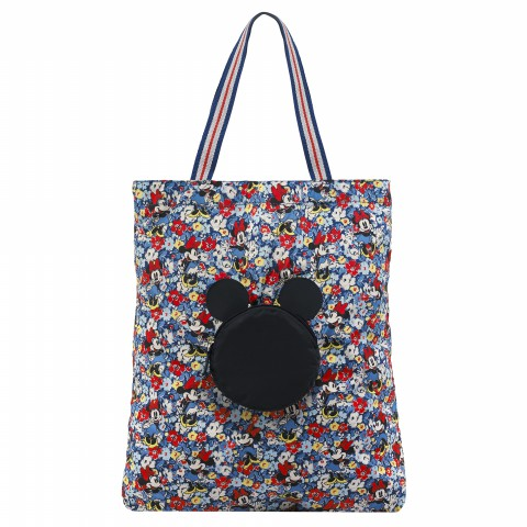 DISNEY FOLDAWAY TOTE MINNIE MEWS DITSY BLUE