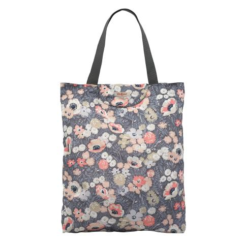 TOTE FOLDAWAY WINFIELD FLOWERS SOFT CHARCOAL