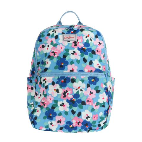 FOLDAWAY BACKPACK LARGE PAINTED PANSIES GREY BLUE
