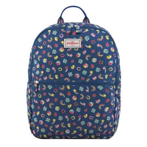 FOLDAWAY BACKPACK GOOD LUCK CHARMS NAVY MULTI