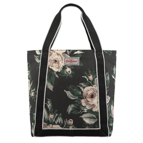 REVERSE COATED TOTE DEVONSHIRE ROSE CHARCOAL