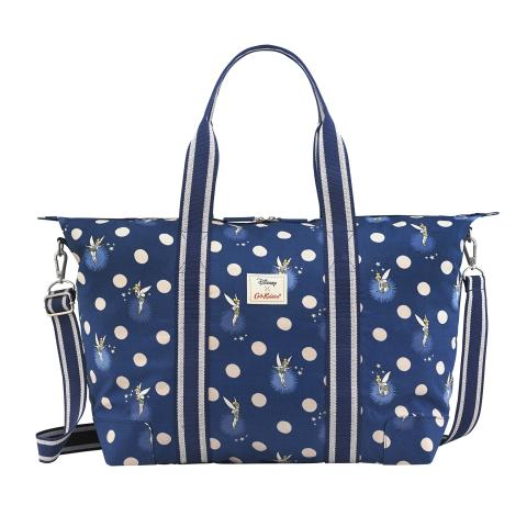 DISNEY FOLDAWAY OVERNIGHT BAG TINKER BELL BUTTON SPOT NAVY