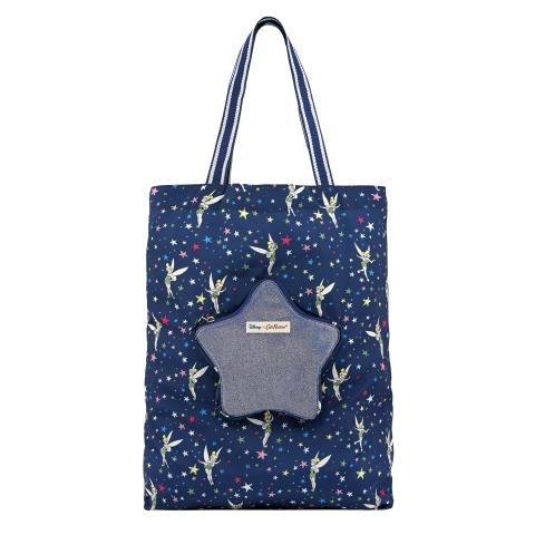 DISNEY STAR TOTE FOLDAWAY TINKER BELL STARRY NIGHT NAVY