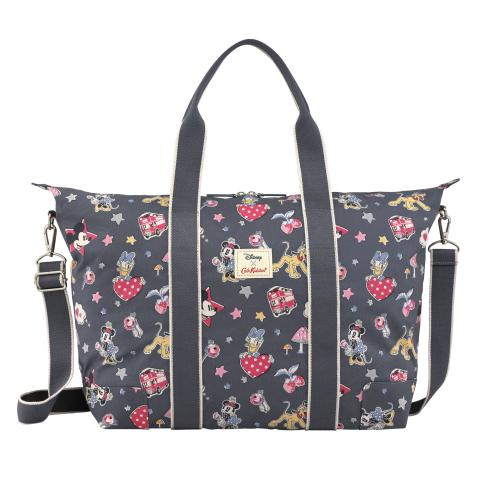 Foldaway Overnight Bag - DISNEY Mickey & Minnie Patches Slate Grey