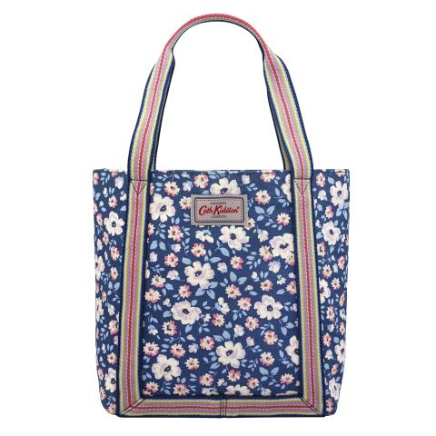 MINI REVERSE COATED TOTE ISLAND FLOWERS NAVY