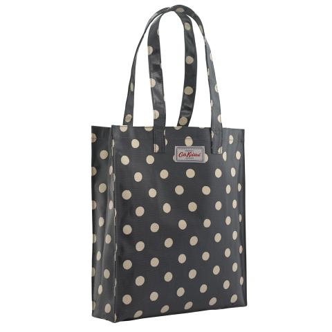 BUTTON SPOT CHARCOAL BOOKBAG W/ GUSSET - OC