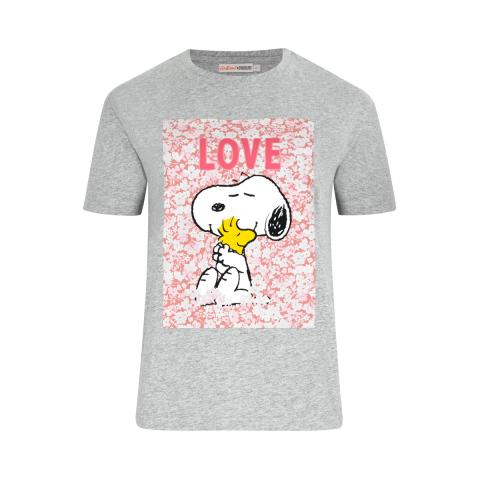 SNOOPY GREY PLACEMENT T-SHIRT