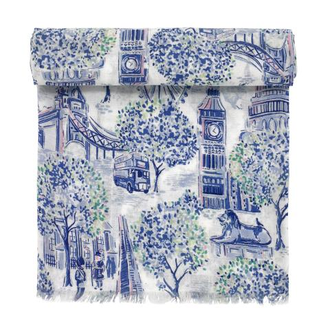 SCARF LONDON TOILE MID BLUE