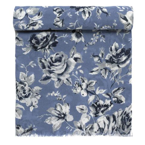 SCARF ETCHED FLORAL PERIWINKLE