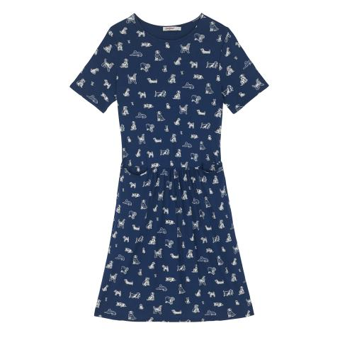 TINY SQUIGGLE DOGS JERSEY POCKET DRESS