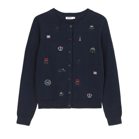 EMBROIDERED LONDON CARDIGAN M