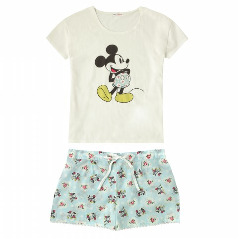 DISNEY TEE & SHORTS SET MICKEY HEARTS MINNIE AQUA S