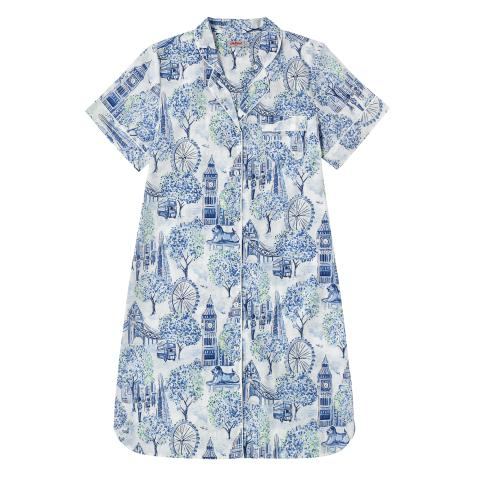 COTTON LAWN NIGHTIE LONDON TOILE MID BLUE XS