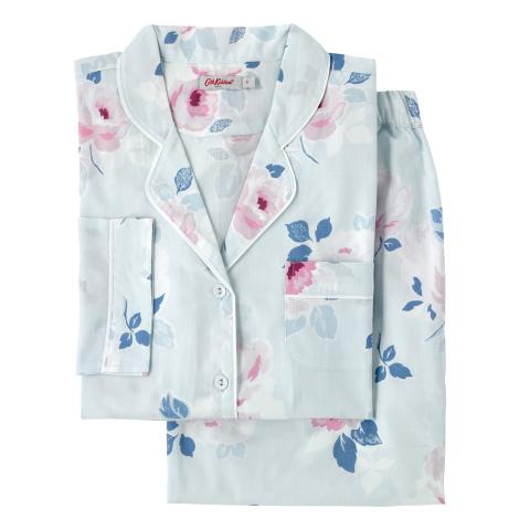 WOVEN PJ SET  PAPER ROSE SCATTERED POWDER BLUE S