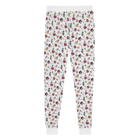 DISNEY NIGHTWEAR JERSEY LEGGINGS MICKEY & MINNIE LITTLE PATCHES IVORY S