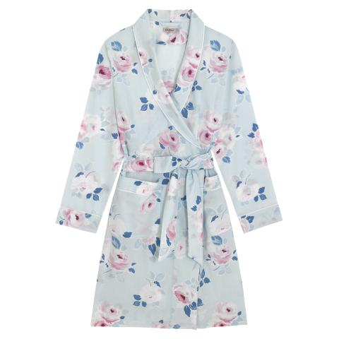 WOVEN DRESSING GOWN  PAPER ROSE SCATTERED POWDER BLUE S