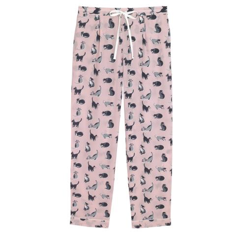 LONG PJ BOTTOM PAINTED CATS POWDER PINK S