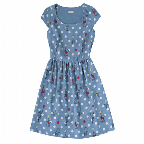 COTTON SLUB RAGLAN DRESS BALLOONSPOT BLUE 10