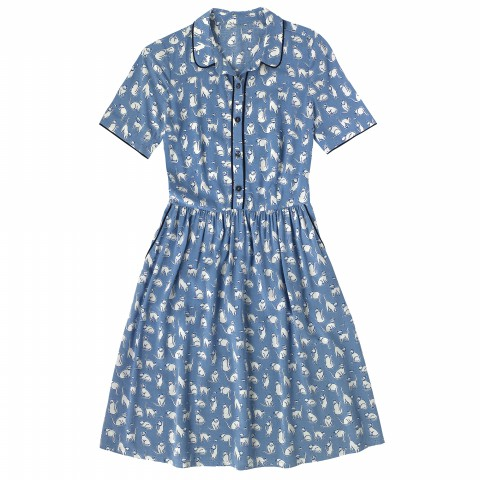 FLAT VISCOSE PIPED SHIRT DRESS MONO CATS BLUE 10