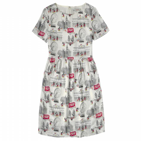 DISNEY VISCOSE DRESS MICKEY IN LONDON STONE 10
