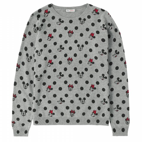 DISNEY JUMPER MINNIE & MICKEY SPOT GREY MARL XS