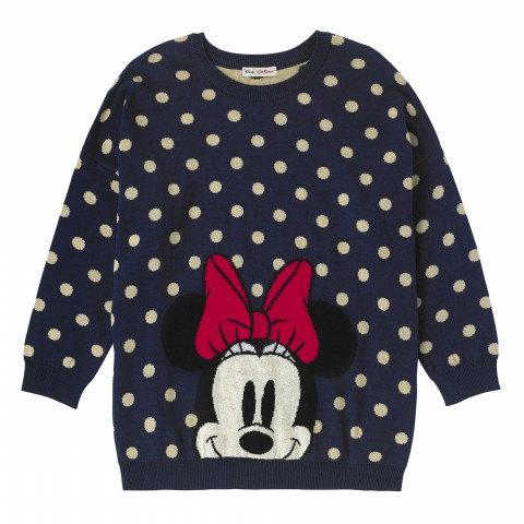 DISNEY JACQUARD JUMPER MINNIE & MICKEY SPOT BLUE XS