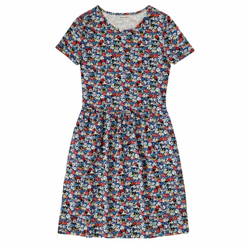 DISNEY JERSEY DRESS MINNIE MEWS DITSY BLUE 8