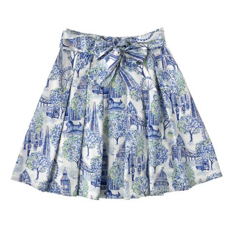 COTTON SATEEN SKIRT LONDON TOILE MID BLUE 10