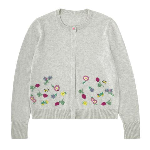 COTTON EMBROIDERED CARDIGAN EMBROIDERY SOFT GREY S