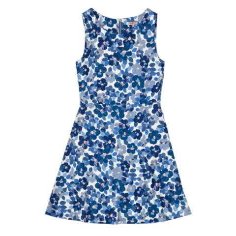 PONTE TEA DRESS W/SIDE TAB BIG PAINTED PANSIES CREAM BLUE 12