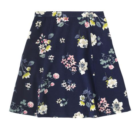 POLYESTER CREPE FLIPPY SKIRT SCATTERED PRESSED FLOWERS NAVY 6
