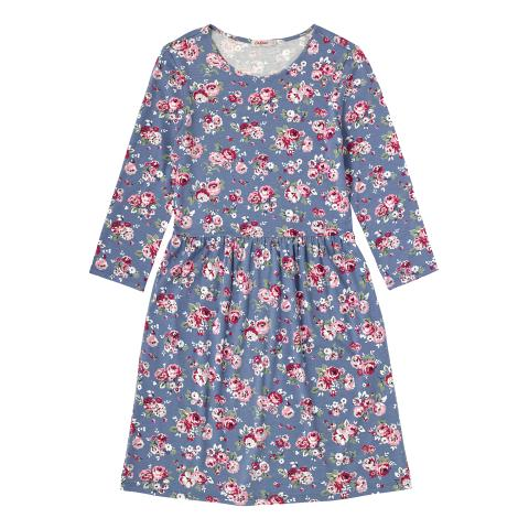 VISCOSE 3/4 SLV DRESS WELLS ROSE SLATE BLUE 6