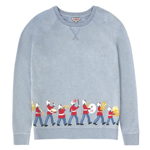 COTTON PLACEMENT SWEATSHIRT MARCHING BAND SOFT BLUE S