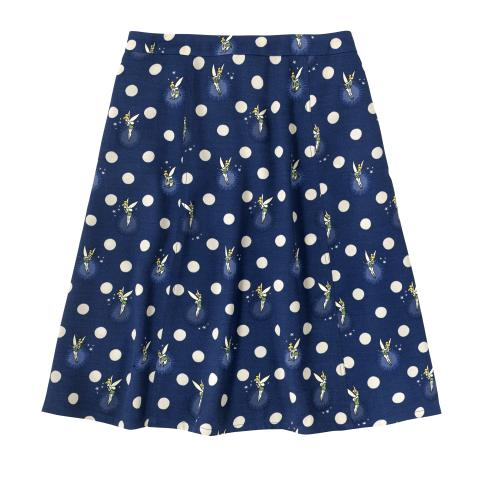DISNEY VISCOSE CREPE FLIPPY SKIRT TINKER BELL BUTTON SPOT NAVY 6