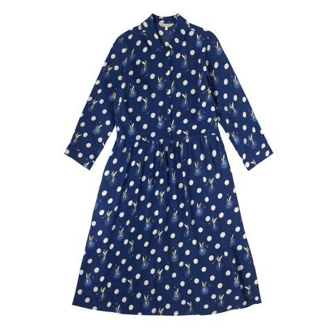 DISNEY VISCOSE CREPE SHIRTDRESS TINKER BELL BUTTON SPOT NAVY 6