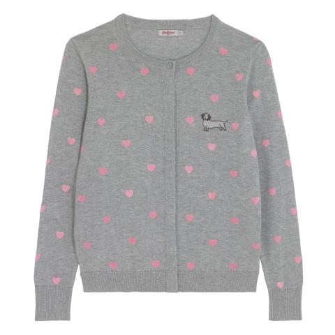 FLOCKED HEART PRINT CARDIGAN SAUSAGE DOG HEART GREY MARL S