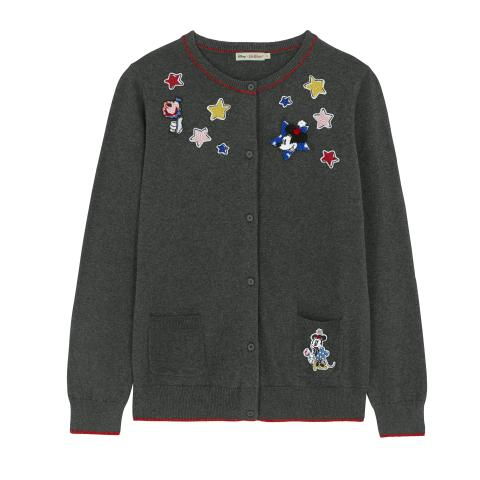 DISNEY CARDIGAN MICKEY & MINNIE PATCHES SLATE GREY L