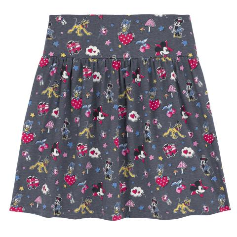 Disney Jersey Skirt  Mickey & Minnie Patches Slate Grey