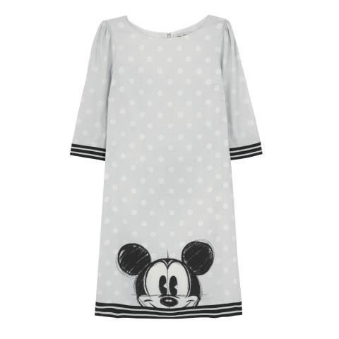 DISNEY CREPE DRESS  MICKEY & FRIENDS PLACEMENT LIGHT GREY 8