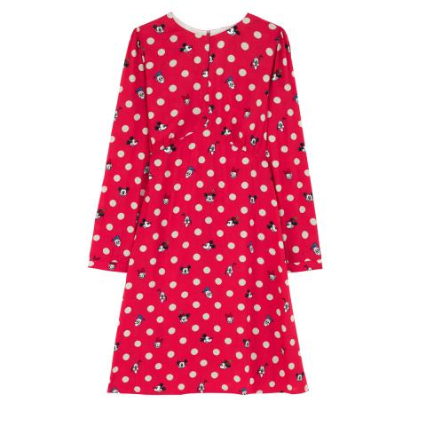 DISNEY FLAT VISCOSE DRESS MICKEY & FRIENDS BUTTON SPOT RED 8