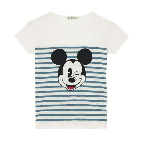 Disney T-Shirt Mickey Stripe Placement Dusty Blue S