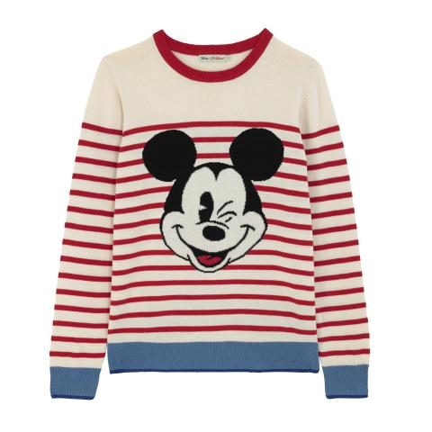 DISNEY STRIPED JUMPER MICKEY STRIPE PLACEMENT RED