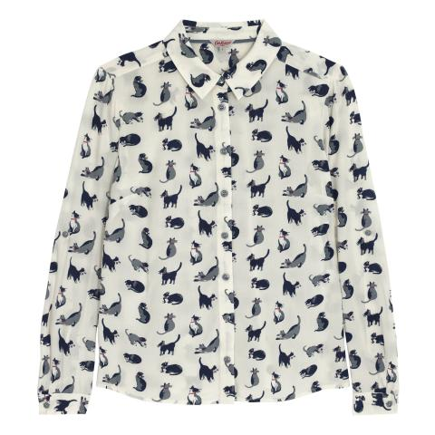 FLAT VISCOSE SHIRT SMALL PAINTED CATS IVORY 10