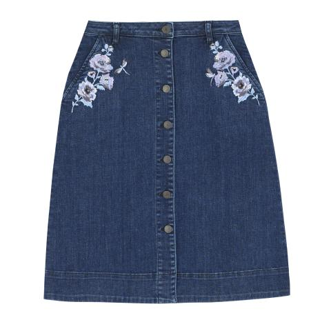DENIM SKIRT SOLID MID WASH