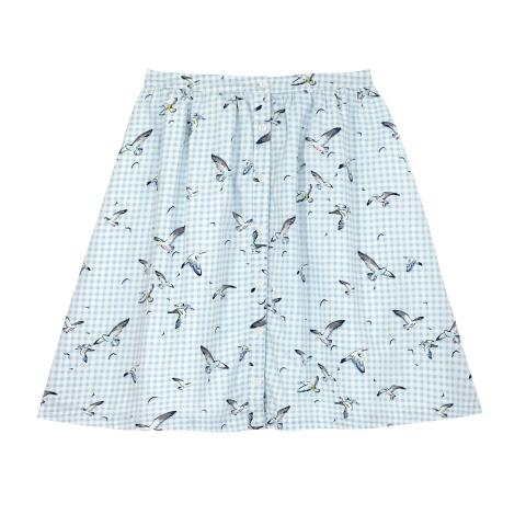 COTTON SATEEN SKIRT  SEAGULL CHECK OFF WHITE MULTI