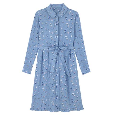FLAT VISCOSE SHIRT DRESS  KITES SOFT BLUE 10