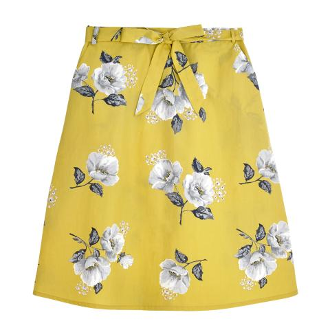 SCATTERED WILD POPPIES EGG YOLK CRISP COTTON SKIRT